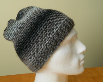 Men's Beanie Hat in Black and Grey