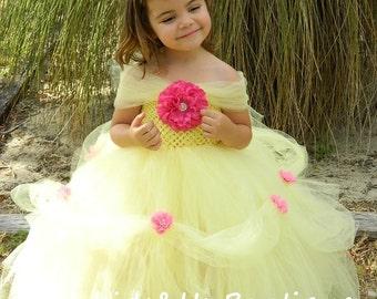Princess Belle Tutu Dress-  Yellow Princess Tutu Dress Birthday party, photoprop
