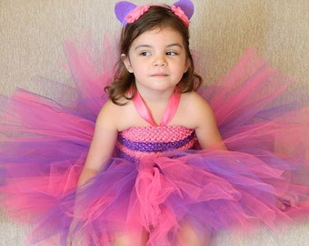 2 RESERVED ORDER Cheshire cat inspired tutu outfit from Alice in wonderland- Pink purple Cheshire Tutu