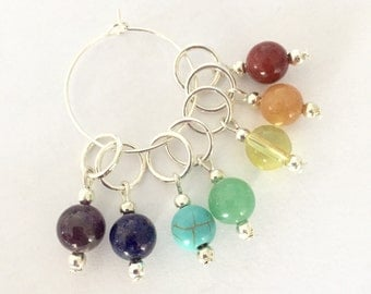 Rainbow Knitting Stitch markers -  gemstone stitch markers - knitting accessories - chakra gemstone beaded markers