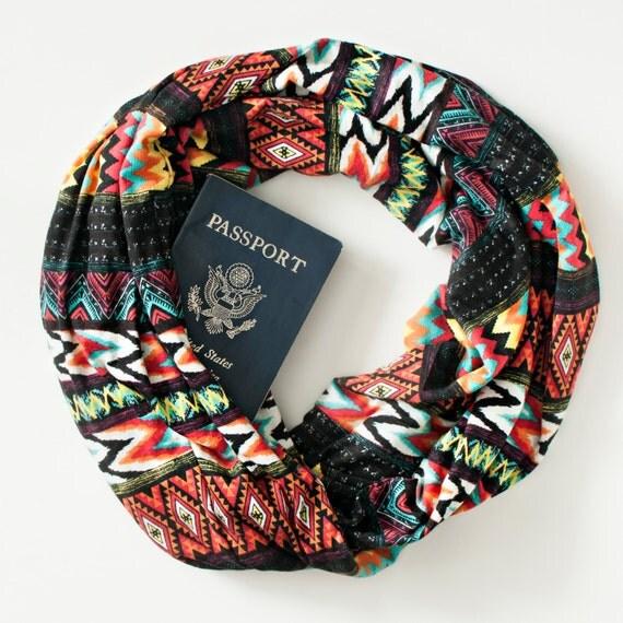 Kayenta scarf w hidden pocket travel hidden pocket scarf for Travel scarf
