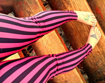 Freakshow pink and black stripe Leggings pants lycra
