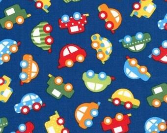 COTTON FABRIC Blue Cars - Ready Set Go 2! Primary, by Ann Kelle for Robert Kaufman 100% premium cotton