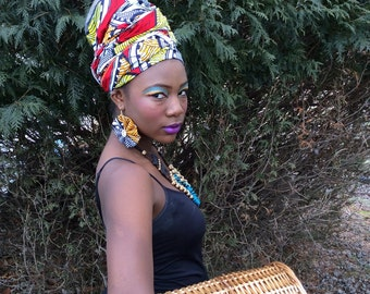 Ankara head wrap with matching earrings **Natural Hair Care, African Head Wraps, Turban, Protective Styles