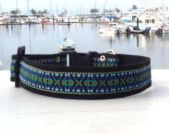 Black with Blue Hippie Dog Collar For Large and Extra Large Breeds L,  XL and XXL