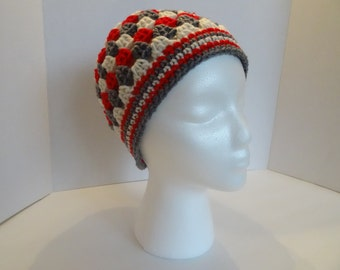 Grey, Red and Cream Granny Square Hat