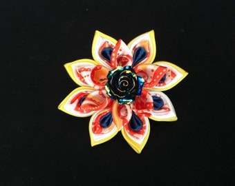 Kanzashi Flower Barrette, Ribbon Flower, Kanzashi Fabric Flower