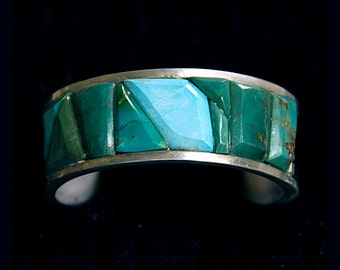 Cobblestoned McGinnis & Sleeping Beauty Turquoise Sterling Silver Cuff