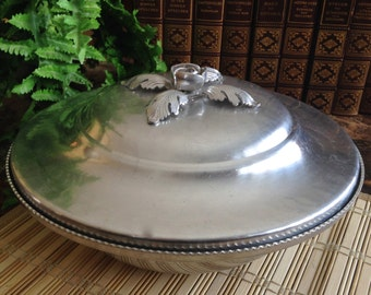 Vintage Trade Continental Mark hand wrought Silverlook 557 aluminum covered dish