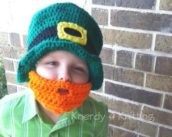 Bearded Leprechaun Hat, St. Patrick's Day Beard Hat, Crochet Top Hat, Green Top Hat, Saint Patricks Day gift, leprechaun costume, Irish hat