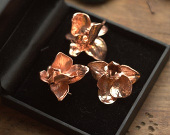 Natural orchid flowers copper electroformed,botanical jewelry,flower pendant,silver-plated electroplated orchids,electroforming,electroform