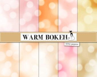 "Bokeh digital paper : ""Warm Bokeh"" digital bokeh backgrounds in warm, neutral colors, bokeh papers  in brown, beige, orange, pink and yellow"