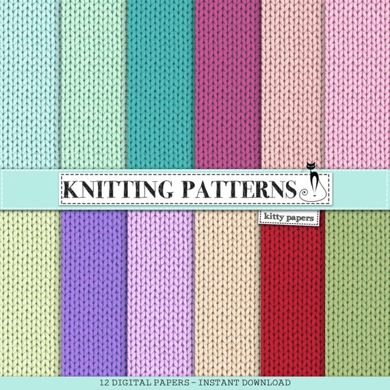 Digital Knitting Patterns : Fabric digital paper : Knitting Patterns colorful
