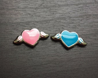 Flying Heart Floating Charm for Floating Lockets-Choose Blue or Pink-Gift Idea for Women