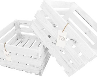 Wooden Crate Box 40x40x20cm White