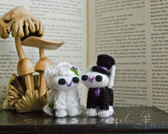 Wedding Cake Topper Bunnies – Bride and Groom - Little Hand-Knitted Bunnies – Collectible Amigurumi Gift, Keepsake