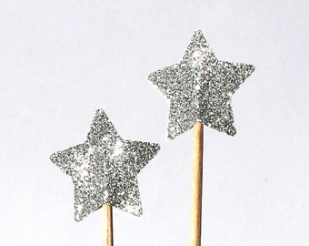 Stars, paillettes, paillettes, Cup cake toppers, argent, 20 pièces, décoration de muffins, astérisque, anniversaire, Partydeko, drapeaux de la Coupe du gâteau, fête