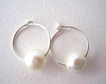 Pearl Hoop Earrings, Small Sterling Silver Hoop Earrings, Pearl Sterling Silver Earrings, Freshwater Pearl Earrings, White Pearl Earrings
