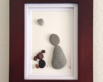 Pebble art, dog and owner, dog lover, wall art, home decor, unique gift, heart shaped rock