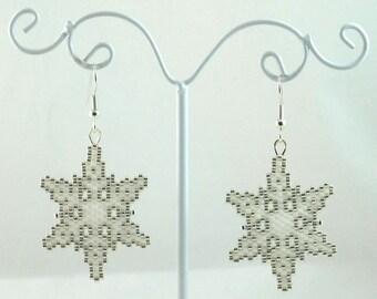 Elegant Snowflake Beaded Earrings - Winter Jewelry - Christmas Jewelry