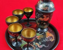 Antique Chinese Foochow Lacquer Polycrome Tray With Cocktail Shaker And 5 Glasses