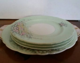 Rare Vintage Aynsley Bone China  England  Set Of Four Plates Pattern B 4607