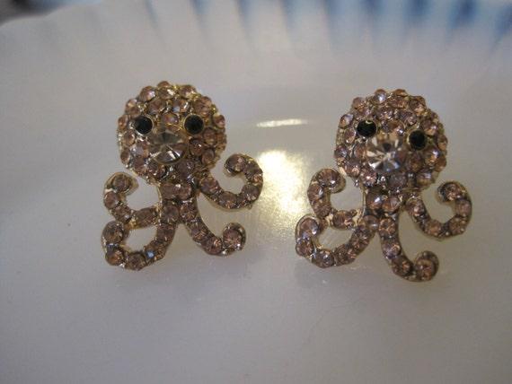 rose gold octopus ohrringe ohrstecker strass octopus. Black Bedroom Furniture Sets. Home Design Ideas