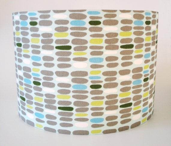 Organic cotton pebble print fabric lampshade for bedside and ceiling lights