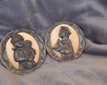 Pewter and Brass Plaques