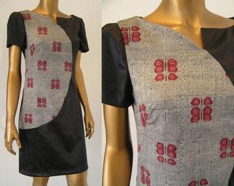 Modern black and gray kimono asymmetric color block sheath dress XS