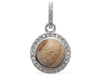 Picture Jasper Round, Austrian Crystal Pendant Without Chain Silver-Tone TGW 4.50 cts.