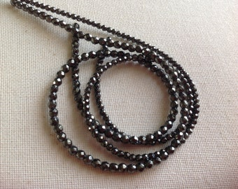 Hematite 3mm and 4mm Faceted Beads Noir Black Natural Gemstone