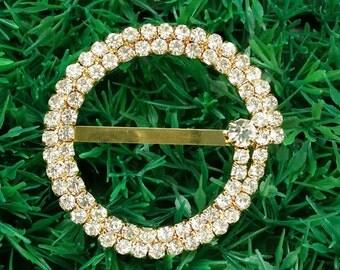 10 PCS Wholesale Rhinestone Bling Wedding Invitation Gold Buckles,Craft Supplies Bridal Decoration Bouquet Embellishments, Buckle A22