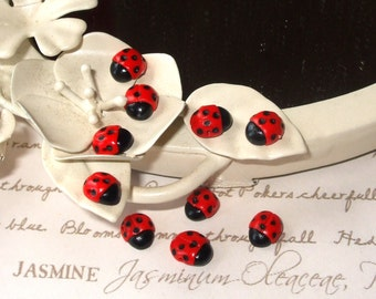 Tiny Polymer Clay Ladybird Beads x 4