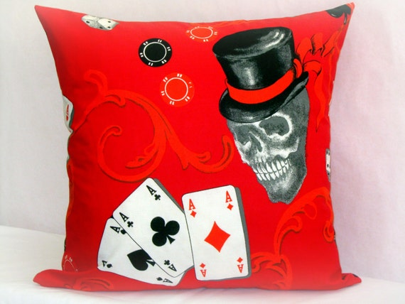 Skull pillow covers 22x22 Red Blue throw pillows by SABDECO