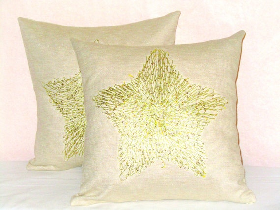 Gold Star throw pillow cover 18x18 Sequin applique by SABDECO