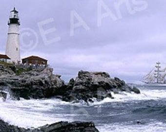 "Portland Head Light, Cape Elizabeth, Maine- ""Tall Ship""-    Maine Panoramic Photography by Maine Photographer Paul Vose-Color Art Print"