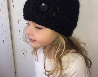Black Chunky Crochet Kids Hat with Flower