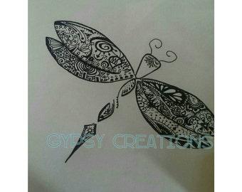 Dragonfly Doodle Art- Zentangle