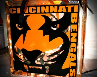 Bengals Inspired Lighted Glass Block