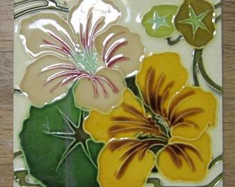 original art nouveau ceramic tile with flowers Hemiksem