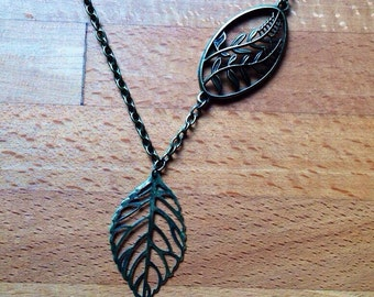 Antique brass leaf necklace