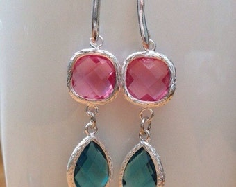 Emerald green and pink crystal earrings