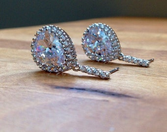 Stunning white gold plated cubic zirconia teardrop bridal earrings