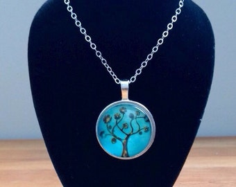 Silver and aqua tree of life necklace