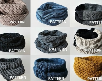 KNITTING PATTERN 9 PDF Patterns Knit Infinity Scarf Pattern Cowl Scarf Pattern Knitting Scarves Pattern Crochet Infinity Scarf Pattern