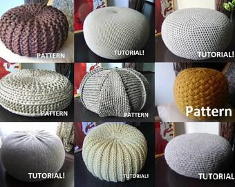 Crochet Pattern Knitting Pattern 9 Knitted & Crochet Pouf Floor cushion P...