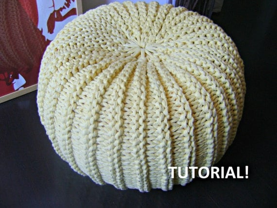 Diy tutorial xxl pouf poof ottoman footstool home by iswoolish - Knitted pouf ottoman pattern ...