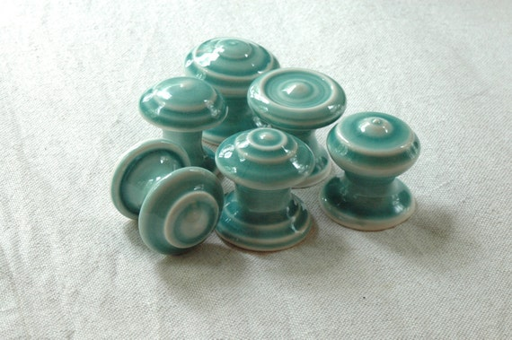 Ceramic Handmade Cabinet Knobs In Blue Green
