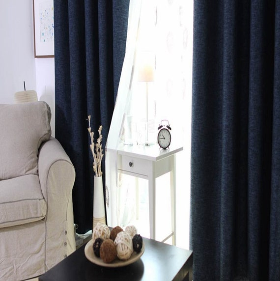 Blue Custom Curtain Panels. Triple Woven Fabric With Linen Look. 80-90 ...